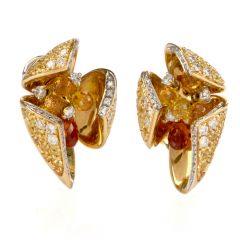 Designer IO SI Floral Diamond Sapphire Gold Italian Clip Back Earrings
