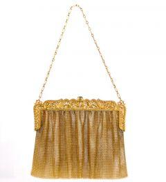 Antique Sapphire Filigree 18K Yellow Gold Mesh Hand Purse