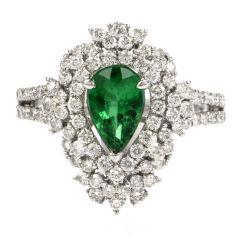 Zambian Emerlad GIA Diamond Cluster Gold Ring