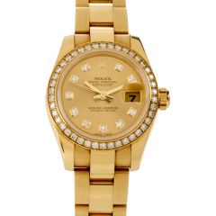 Rolex 26mm Ladies-Datejust Diamond Face 18K Gold Watch Ref 179138
