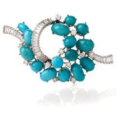 Gübelin Vintage Baguette Diamond Turquoise Gold Pin Brooch
