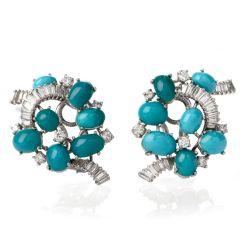 Gübelin Baguette Diamond Turquoise Gold Clip On Earrings