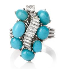 Estate Baguette Diamond Turquoise Gold Cocktail Ring