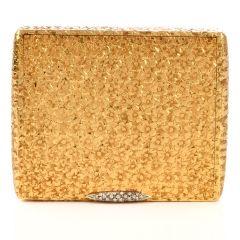 Vintage Floral Diamond 18K Gold Compact Box