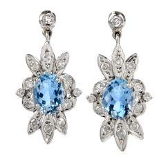 Vintage Floral Aquamarine Diamond Gold Dangle Earrings
