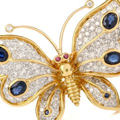 Designer Butterfly Diamond Sapphire 18K Gold Pin Brooch