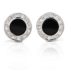 Estate Diamond Onyx 18K White Gold Circle Men's Cufflinks