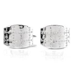 Estate Diamond 18K White Gold Men's Cufflinks