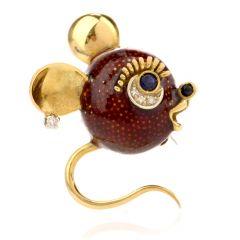Estate Mouse Diamond Sapphire Enamel 18K Gold Pin Brooch