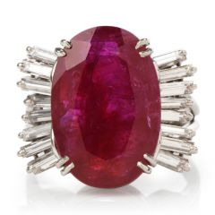 Estate Natural Ruby No Heat Diamond Platinum Cocktail Ring