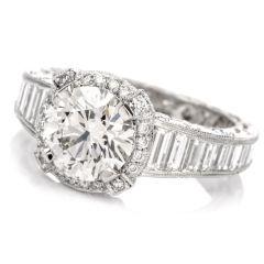 Tacori GIA Diamond Halo Baguette Eternity Platinum Engagement Ring