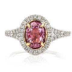 GIA Ruby Diamond Halo 18K White Gold Ring