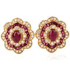 Estate Flower Ruby Diamond 18K Yellow Gold Clip On Earrings
