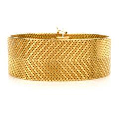 Vintage Retro 18K Yellow Gold Wide Flexible Bracelet