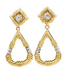 Estate Diamond 18K Yellow Gold Hoop Dangle Clip On Earrings