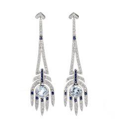 Vintage Diamond Sapphire and Aquamarine 18K Aztec Chandelier Earrings