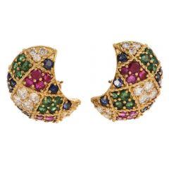 Estate 12.72cts Diamond Ruby Emerald 18K Gold Clip-Back Earrings