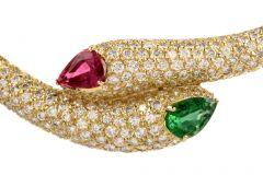 Estate Diamond Ruby Emerald Serpent Bypass Necklace