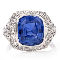 Vintage Diamond 10.58ct GIA Certified Sapphire Art Deco Platinum Ring