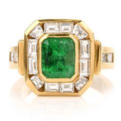 Estate Emerald Diamond 18K Yellow Gold Cocktail Band Ring