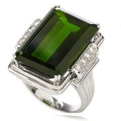 Estate Green Tourmaline Diamond 18K White Gold Cocktail Ring