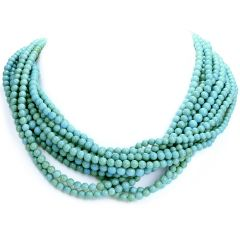 Tiffany & Co. Vintage Turquoise Diamond 18K Gold Multi Strand Beaded Necklace