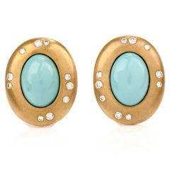 Tiffany & Co. Turquoise Diamond 18K Yellow Gold Clip-On Earrings