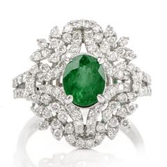Estate Floral Emerald Diamond  Cluster Gold Cocktail Ring