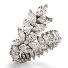Vintage Floral Diamond Marquise Cluster Platinum Ring