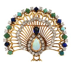 Vintage Peacock Diamond Opal Multi-Gem 18K Gold Brooch Pendant Enhancer
