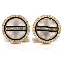 Mayors Diamond Onyx Crystal 18K Yellow Gold Button Men's Cufflinks