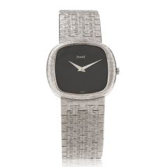 Vintage Piaget Black Dial 18K White Gold Mesh Strap Ladies Watch