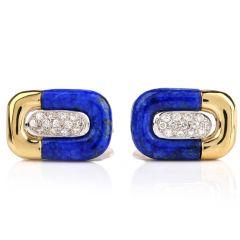 Estate Diamond Blue Enamel Yellow Gold Men's Cufflinks