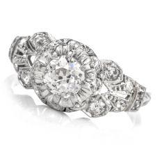 Antique Diamond Platinum Filigree Ring