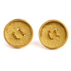 Estate Rope Button 18K Yellow Gold Men's Cufflinks