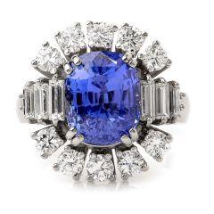 Estate Natural No heat GIA Ceylon Sapphire Diamond Platinum Cocktail Ring