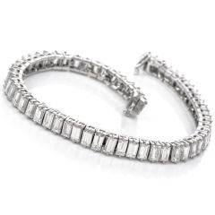 Vintage Emerald Cut Diamond Platinum Tennis Bracelet