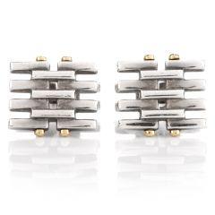 Tiffany & Co. Grid Platinum 18K Yellow Gold Men's Cufflinks