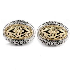 Estate Filigree 18K Yellow Gold Platinum Men's Cufflinks