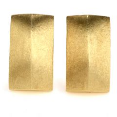 Estate Satin 18K Yellow Gold Rectangle Dome Men's Cufflinks