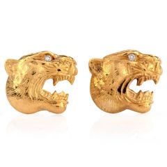 Estate Diamond Panther Head 18K Yellow Gold Men's Cufflinks