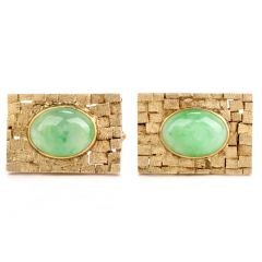 Estate LC Jade 14K Yellow Gold Checkered Men's Cufflinks