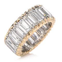 Estate Diamond Emerald Cut 18K Platinum Eternity Band Engagement Ring