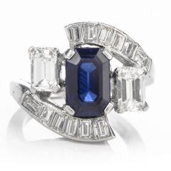 Vintage Platinum Bagguette Diamond Sapphire Bypass Ring