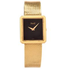Vintage Piaget Onyx Rectangle 18K Yellow Gold Unisex Watch