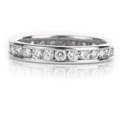 Contemporary Channelled Diamond Eternity Wedding Band 14K