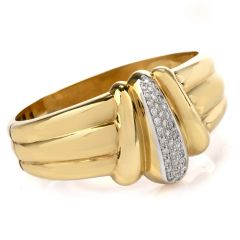 Retro 1970's Italian Diamond 18K Yellow Gold Clamper Bracelet