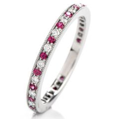 Tiffany and Co Platinum Diamond and Pink Sapphire Eternity Band