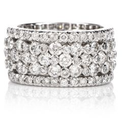 Estate Diamond High Set Wide Platinum Eternity Wedding Band Ring