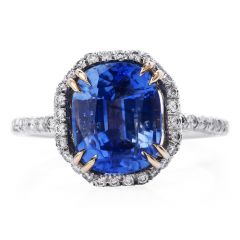 GIA 3.97 Carats Kashmir Blue Sapphire Diamond Platinum Engagement Ring